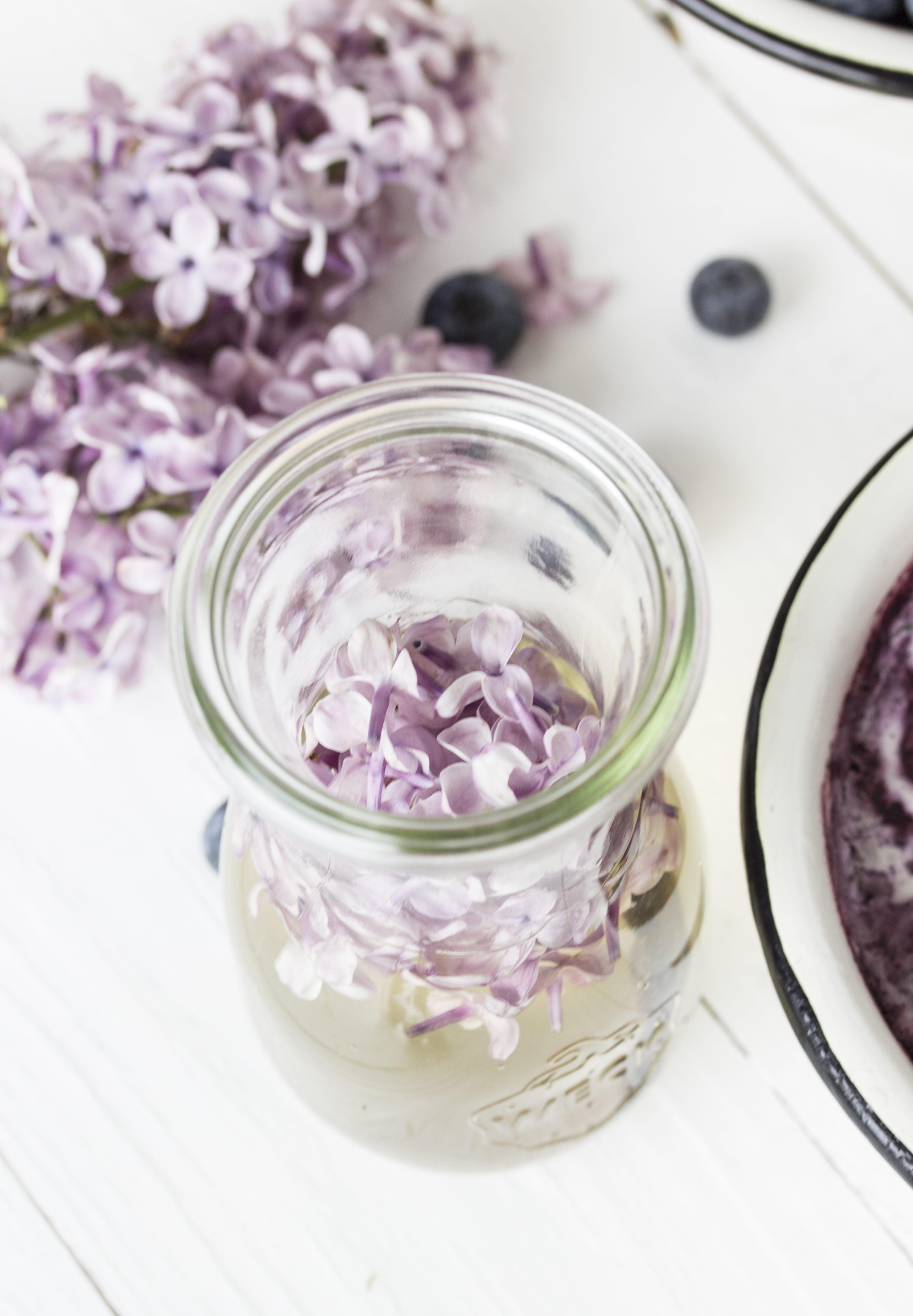Sahneeis mit Blaubeerswirl und Fliedersirup-6