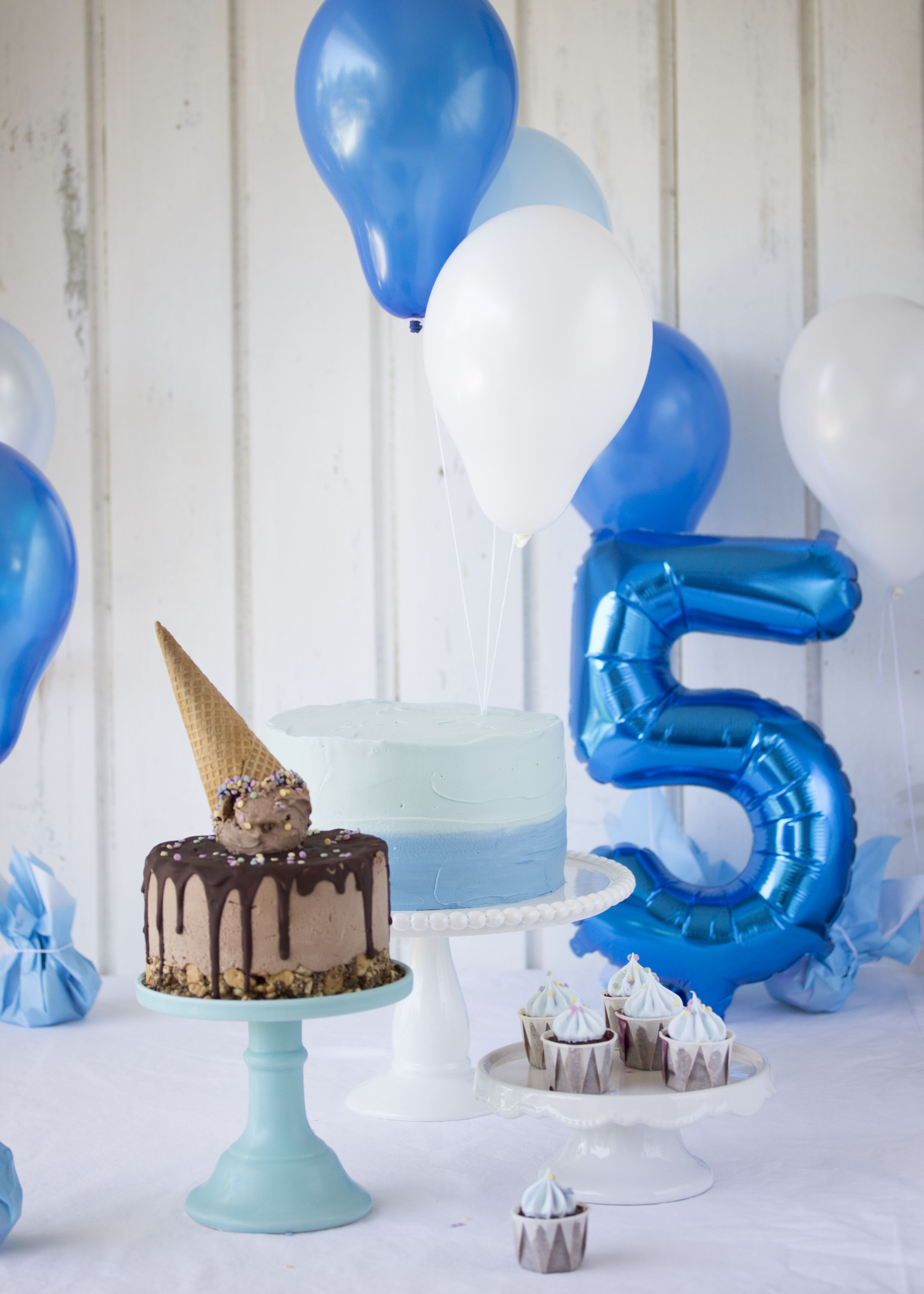 Sweettable in blau zum 5. Geburtstag
