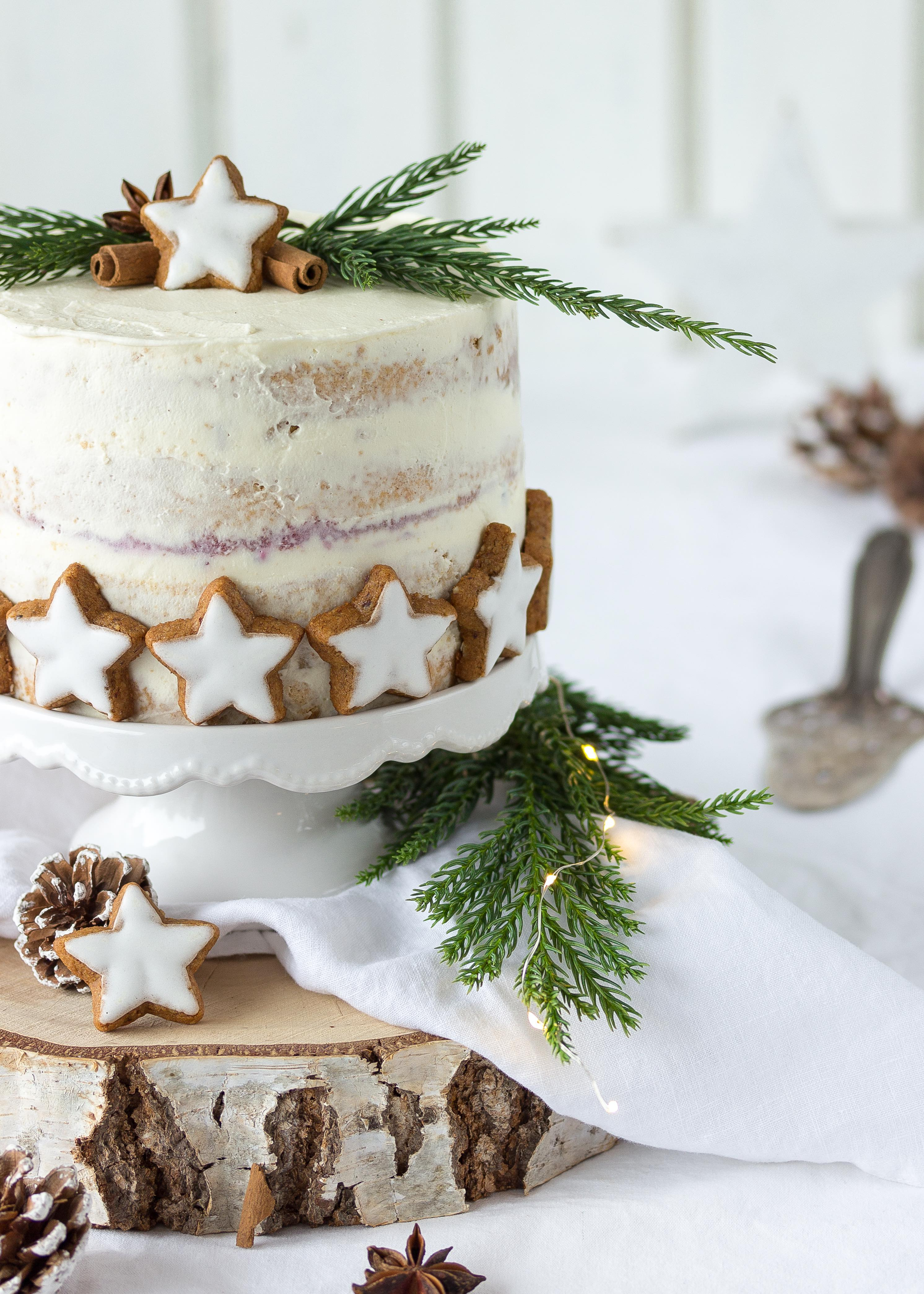 Rezept Zimtstern Apfel Preiselbeer Torte Weihnachten Advent Backen