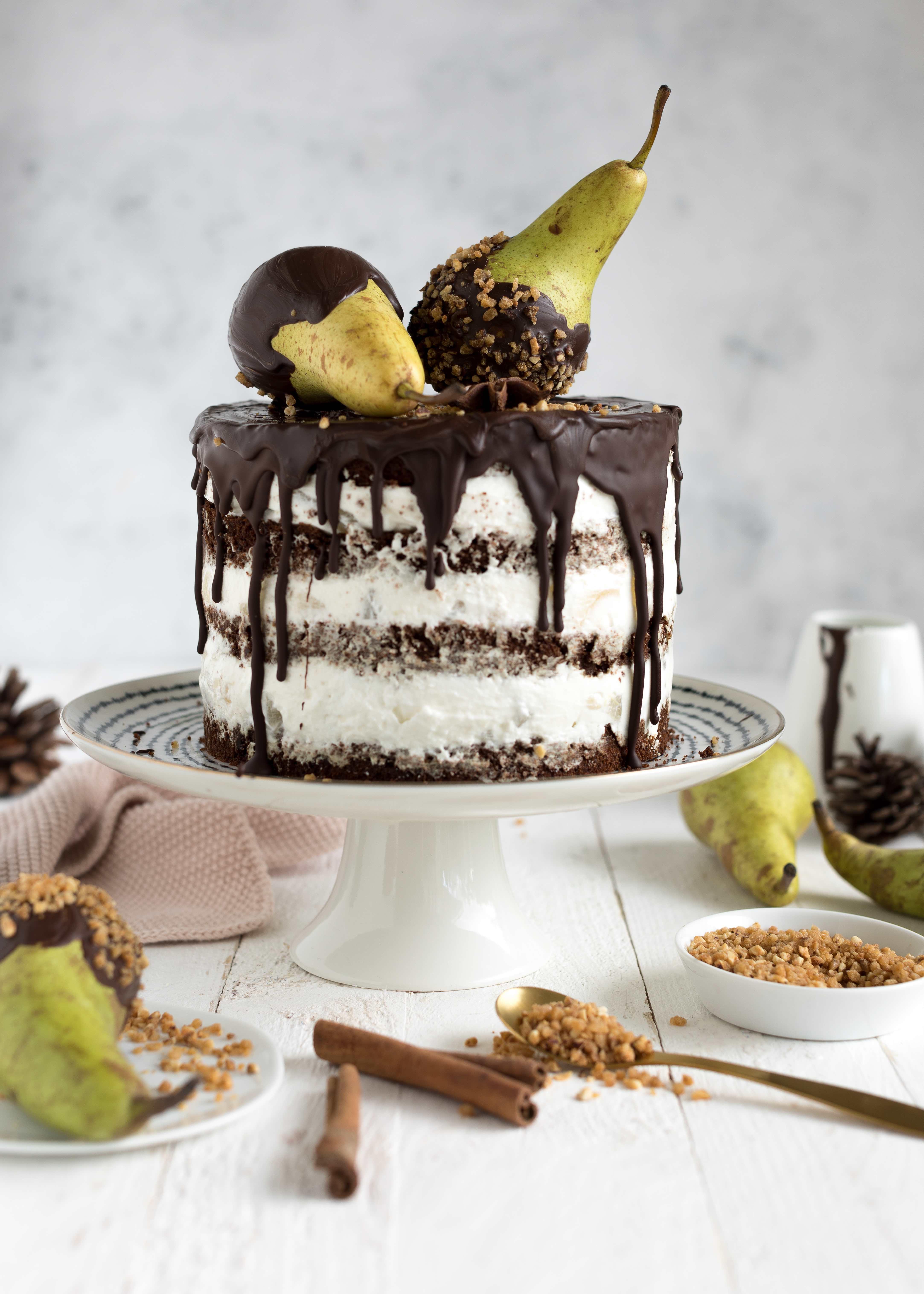 Birnen Schokoladen Torte Herbst Advent backen Rezept