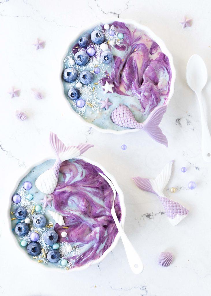 Mermaid Meerjungfrauen Nicecream Bowl Rezept #mermaid #meerjungfrau #dessert #nobake #meringue #baiser | Emma´s Lieblingsstücke