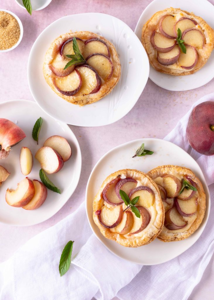 Rezept einfache Bergpfirsich Tartelettes Blätterteig schnell Pfirsich Plattpfirsich