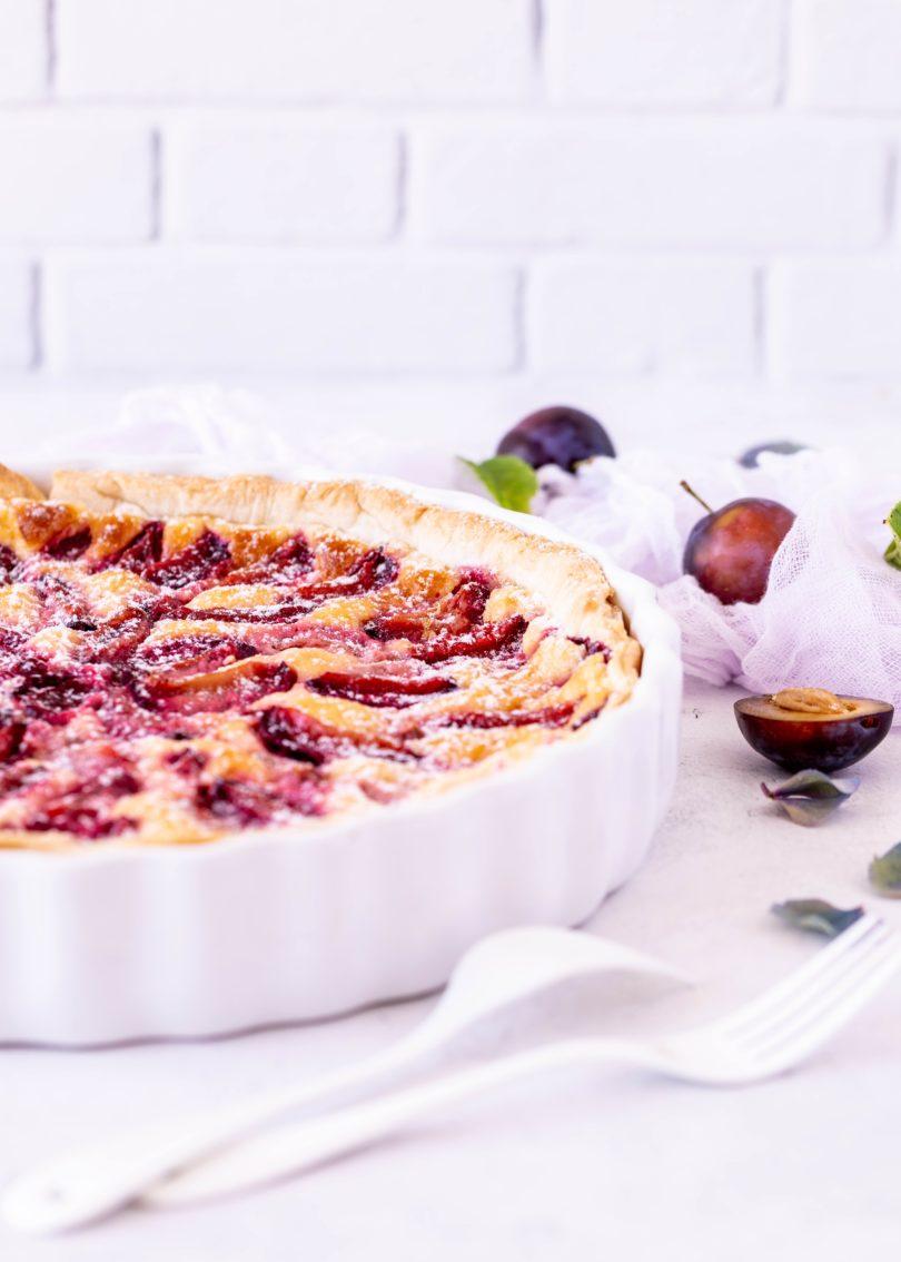 Rezept Zwetschgen Blätterteig Pudding Tarte schnell lecker backen