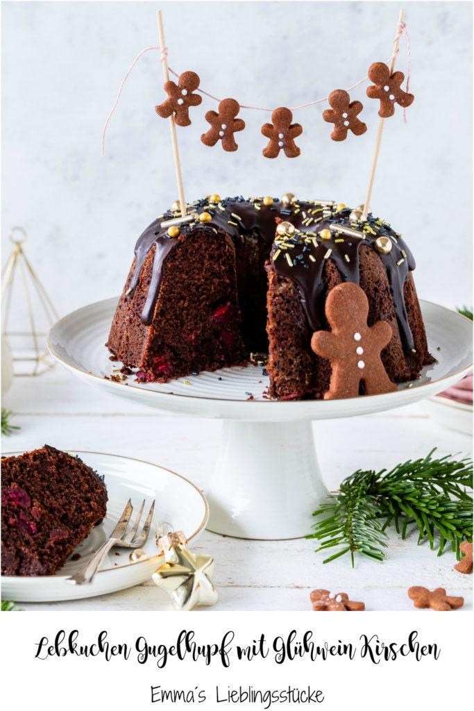 Leckeres Rezept für einen Lebkuchen Gugelhupf mit Glühweinkirschen lecker backen Weihnachten Schokolade #chocolate #bundtcake #christmas #gugelhupf #rührkuchen #kirschen