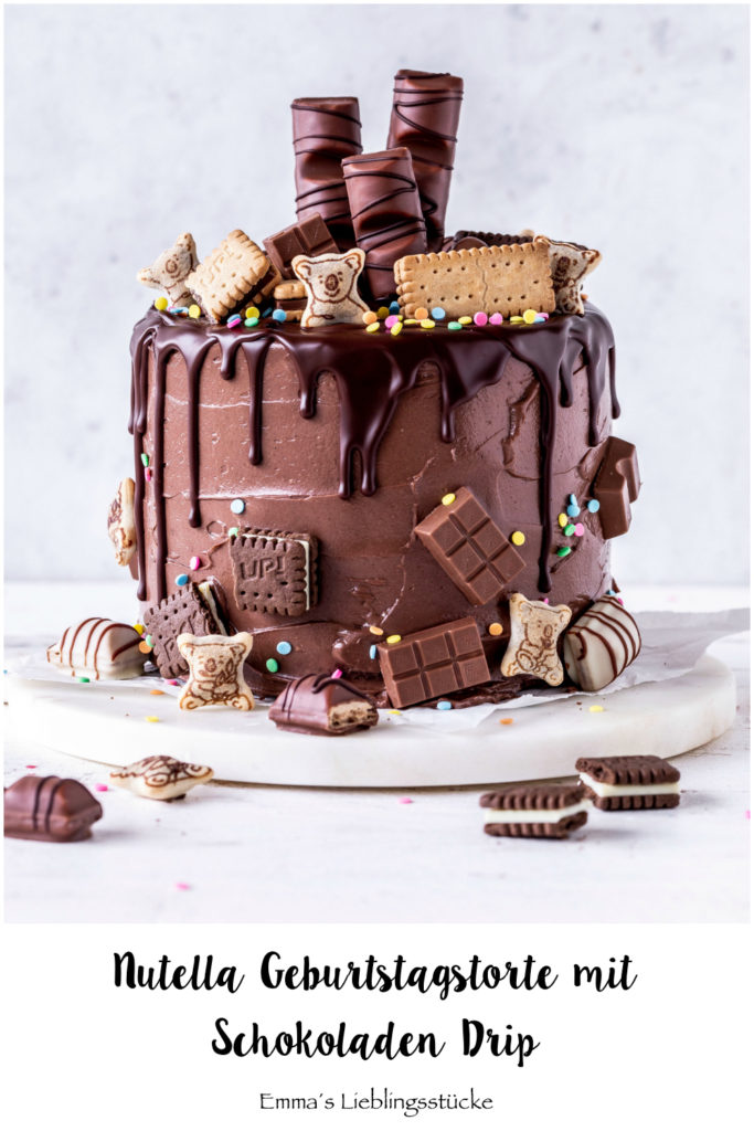 Nutella Schokoladen Drip Cake Rezept Geburtstagstorte Torte Candy backen Baiser Meringue Birthdaycake chocolate #dripcake #nutella #backen #geburtstag #torte #cake | Emma´s Lieblingsstücke