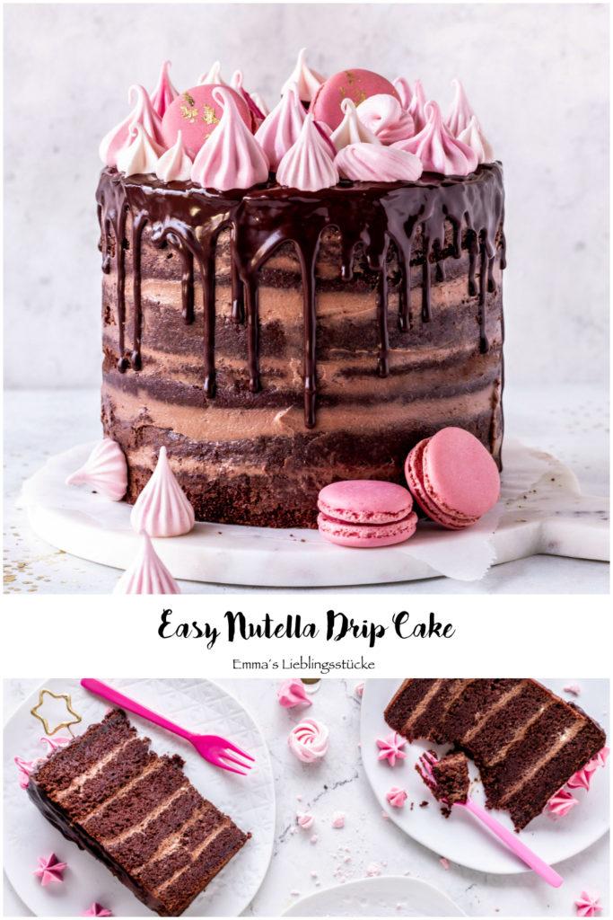 Nutella Drip Cake Rezept Torte Schokolade Geburtstagstorte backen Baiser Meringue Birthdaycake chocolate #dripcake #nutella #backen #geburtstag #torte #cake | Emma´s Lieblingsstücke
