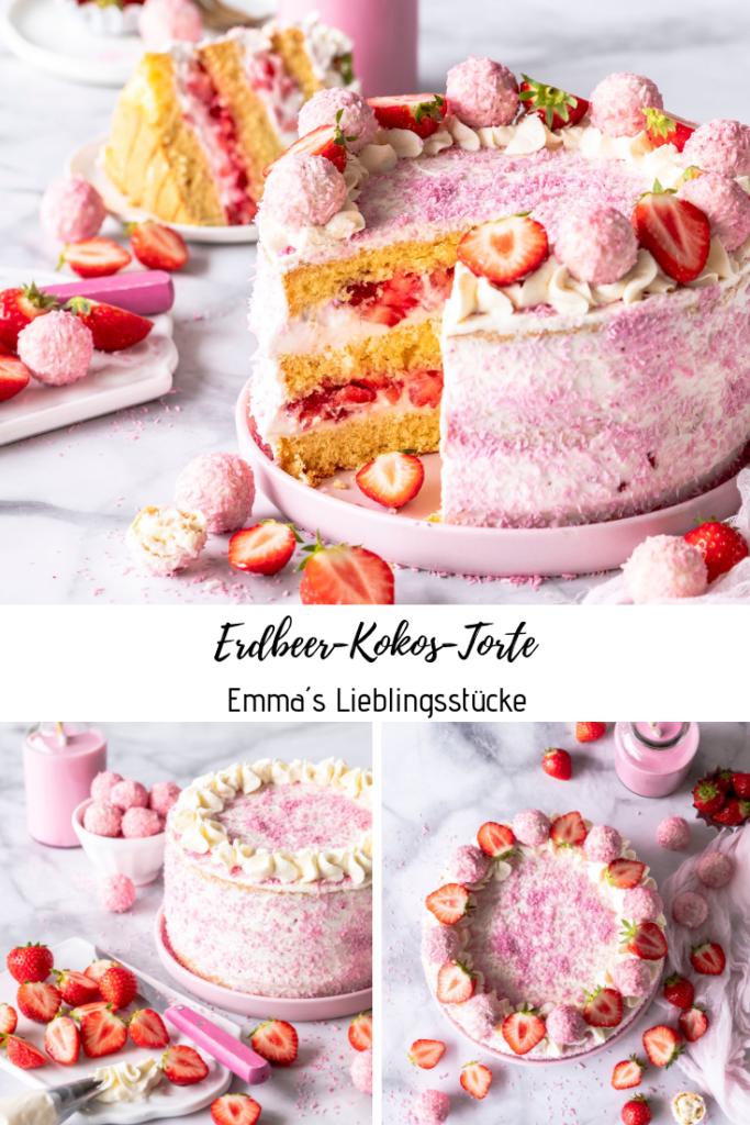 Rezept: Erdbeer Kokos Torte backen lecker einfach Biskuit #Erdbeeren #strawberry #torte #cake #Kokos #foodblog #foodphotography #foodstyling #coconut Emma´s Lieblingstücke